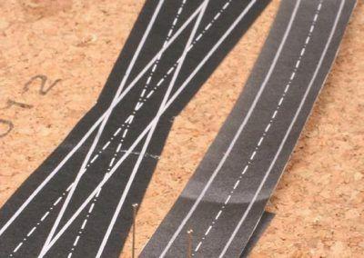 7-Exemple de courbe qui relie deux appareils de voie identique. Elle reprend le rayon de courbure des aiguilles.