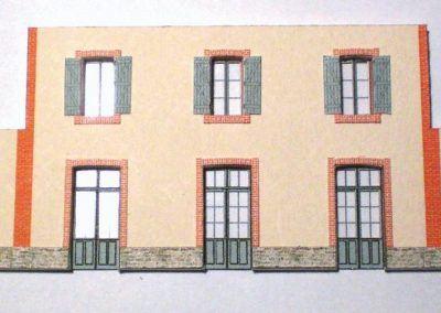 12-Ensemble murs et vitrages assemblés. Vous pouvez choisir la teinte des volets, blanc gris ou brun. Vous pouvez figurer certains volets fermés, découper délicatement certaines portes pour les faire apparaître ouvertes ceci ajoutera une fine touche à votre construction.