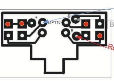 6 - Les platines d'éclairage MPEL 116 sont à relier à la platine MPPE 456 selon les indications données dans la notice de la MPPE 456. Attention à la position du fil bleu, qui doit être soudé sur la borne (+).