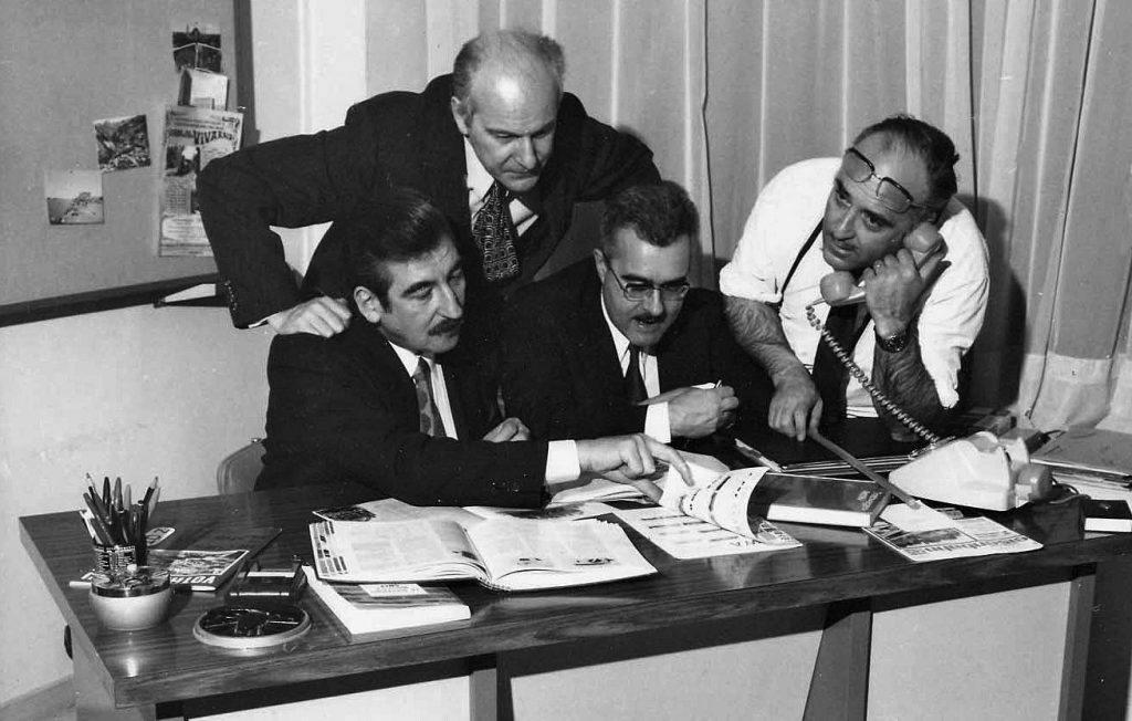 L'équipe en 1972, de gauche à droite Jacques Bourel, Paul Stahl, Bernard Renaudot et Jacques Mériat.