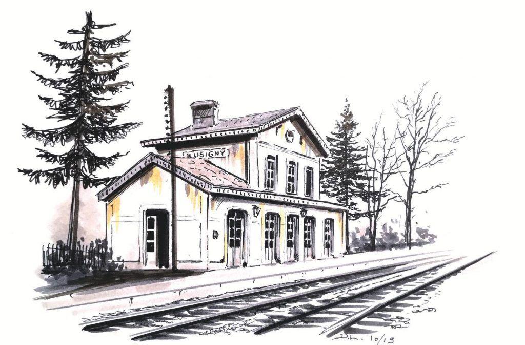 Esquisse de la gare de Lusigny