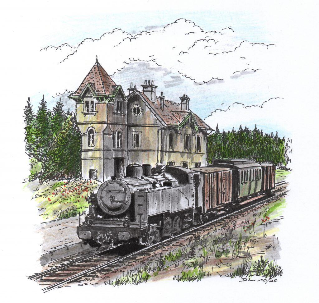 La 103 quitte la gare de Brouvelieures avec le MV 22373 vers 1961.