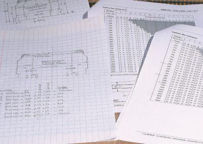 2-Les feuillets Morop des normes 103 et 112 et les croquis de l'auteur avec les calculs bien utiles pour la réalisation des gabarits RMF.