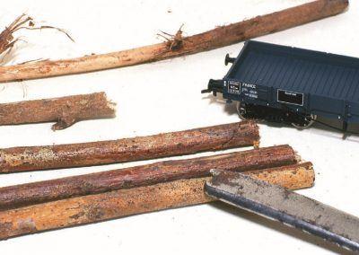 Première étape dans la confection du chargement de bois : la coupe des arbres.