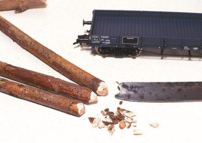 Abattus à l'époque à la cognée, les troncs portent les traces des coups portés à leurs extrémités. Un détail à ne pas oublier.