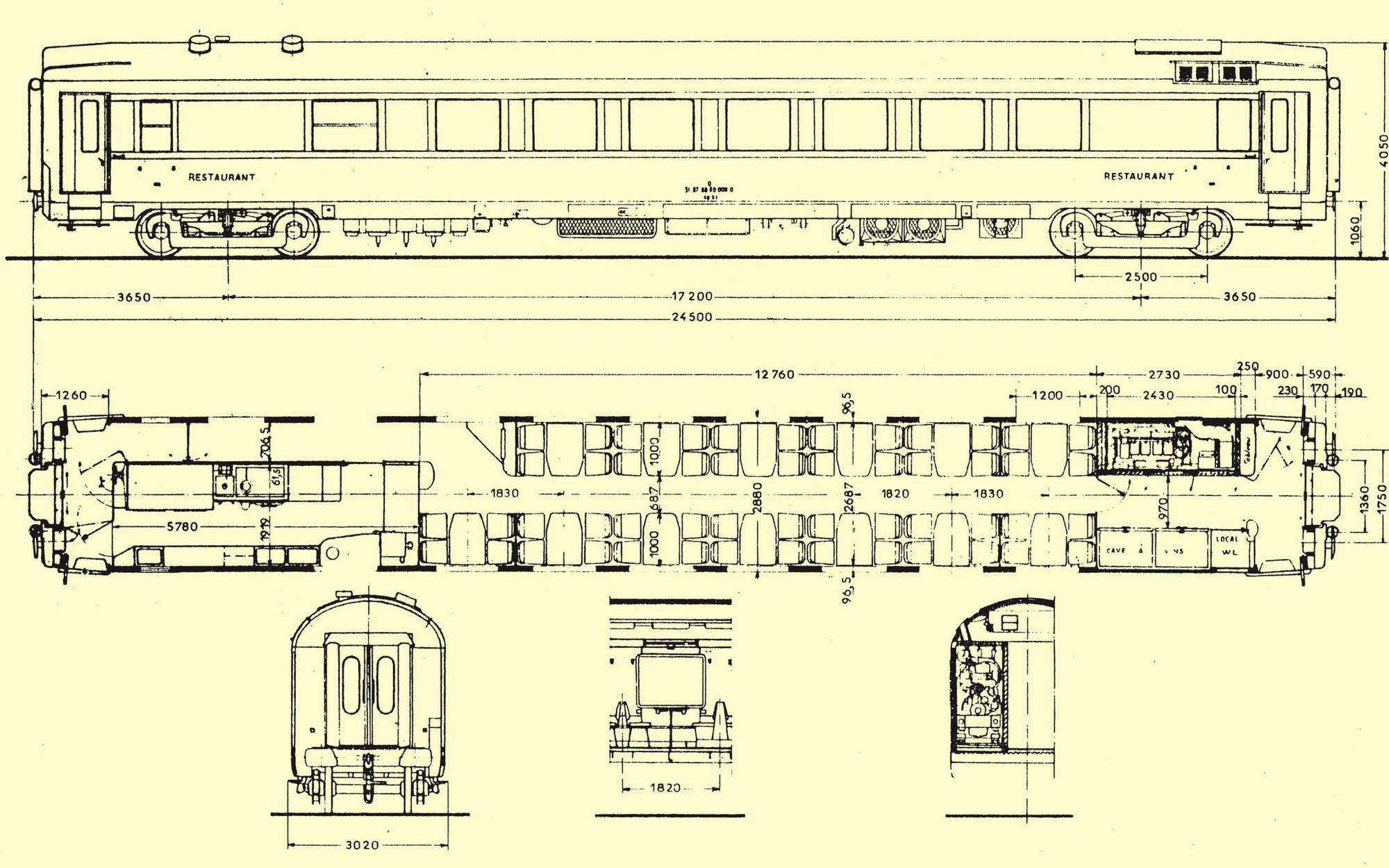Schéma d'une voiture restaurant type 66 SNCF